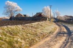 Opóźniony jesienny krajobraz w Boromlya wiosce, Ukraina Obraz Royalty Free
