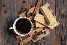 Opłatki i kawa zdjęcie stock