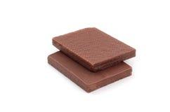 Opłatki pokrywający z czekoladą i odizolowywający na białym tle, Obrazy Royalty Free