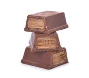 Opłatki w czekoladzie odizolowywającej na bielu obraz stock