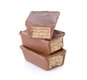 Opłatki w czekoladzie odizolowywającej na bielu obrazy stock