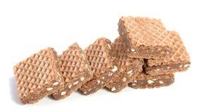 Opłatki z czekoladą na bielu zdjęcie stock