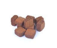 Opłatki z czekoladą odizolowywającą na białym backgroun zdjęcia royalty free