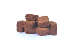 Opłatki z czekoladą odizolowywającą na białym tle zdjęcie stock
