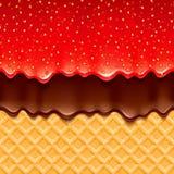 Opłatkowy i truskawkowy dżem i czekolada - wektorowy tło ilustracji