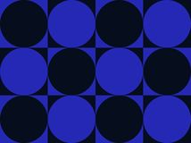Op Art Circles On Squares Blue And Black Royalty Free Stock Photos