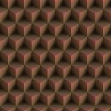 Op Art Cubes Pattern Brown Seamless Stock Image