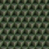 Op Art Cubes Pattern Green Seamless Royalty Free Stock Images