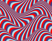 Op Art Flowing Stripes Red Blue Light Blue Royalty Free Stock Images