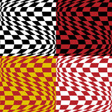 Op Art Pattern #3. Seamless op art background in four color combinations. 12-inch repeat Stock Image