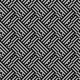 Op art seamless geometric striped pattern. Striped maze vector pattern in black and white. Seamless geometric texture with meander motifs and stripes. Op art Stock Photos