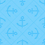 Op art seamless vector pattern with anchors. Marine background. Guilloche silhouettes of anchors on repeating stripes Royalty Free Stock Photography