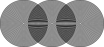 Op Art Superposing Bullseyes Black on Black Royalty Free Stock Images
