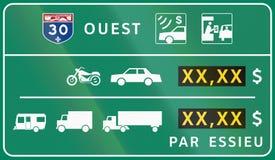 Opłata drogowa panel w Kanada Obraz Stock