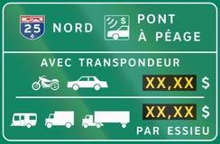 Opłata drogowa panel w Kanada Fotografia Royalty Free