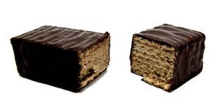 Opłatkowy czekoladowy bar na bielu Obrazy Royalty Free