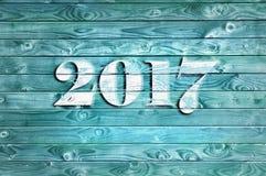 2017 op blauw paneel Stock Fotografie