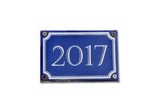 2017 op blauwe metaalplaat Stock Fotografie