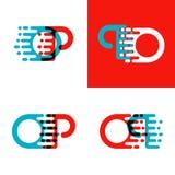 OP brievenembleem met accentsnelheid in rood en blauw Royalty-vrije Stock Foto's