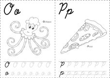2OP. Cartoon octopus and pizza. Alphabet tracing worksheet: writing A-Z, coloring book and educational game for kids Royalty Free Stock Photography