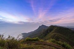 Op de berg met mist in Thailand Stock Foto