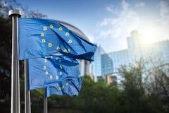 Op de blauwe vlag het symbool bitcoin Verordening van de crypto munt door de Europese Unie Royalty-vrije Stock Afbeelding