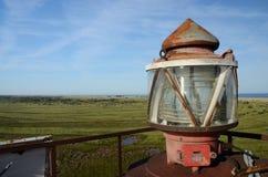Op de bovenkant van Noordelijke vuurtoren, Tendra-navigatieteken, de Oekraïne Royalty-vrije Stock Afbeeldingen
