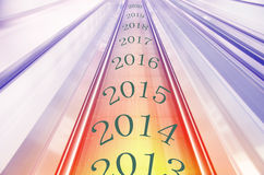 Op de chronologie gedrukt op eind 2013 en het begin van 2014 wordt wijzen Stock Afbeelding