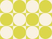 Op de Cirkels van de Kunst op Geelachtige Groen van Vierkanten Stock Afbeelding