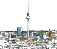 Op de daken van Berlin Watercolored Scribble Stock Afbeelding