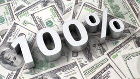 100% op de dollarachtergrond Royalty-vrije Stock Afbeeldingen