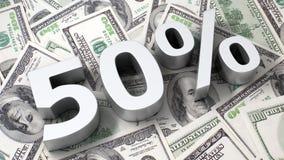 50% op de dollarachtergrond Royalty-vrije Stock Foto's