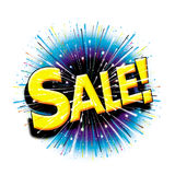Op de explosiepictogram van verkoop hier grafisch starburst Royalty-vrije Stock Foto's