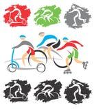 Op de fietsweg - pictogrammen vector illustratie