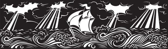 Op de golven vector illustratie