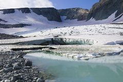 Op de IGAN-Gletsjer Het polaire Oeralgebergte Yamalo-Nenets District, Rusland royalty-vrije stock foto's