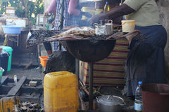 Op de kust van Wouri, Douala, Cameroun Stock Foto's