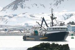 Op de manier in aan haven Stock Foto