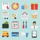 Op de markt brengen-verkooppictogrammen stock illustratie