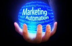 Op de markt brengend Automatiserings blauw plan als achtergrond Royalty-vrije Stock Afbeelding