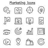 Op de markt brengend pictogram in dunne lijnstijl die wordt geplaatst royalty-vrije illustratie