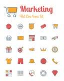 Op de markt brengend pictogrammen geplaatst vlakke lijnstijl Royalty-vrije Stock Fotografie