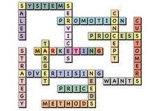 Op de markt brengend woordkruiswoordraadsel Stock Afbeelding