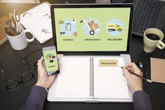 Op de markt brengende brandmerkende kleinhandelsconcessievergunning Bedrijfs strategieconcept stock afbeeldingen