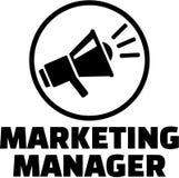 Op de markt brengende manager met megafoonpictogram vector illustratie