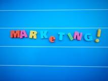 Op de markt brengende woordtekst Stock Afbeeldingen