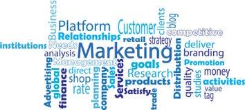 Op de markt brengende woordwolk Stock Foto