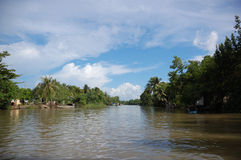 Op de Mekong rivier stock fotografie