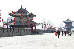Op de muur van Xian, China Stock Fotografie