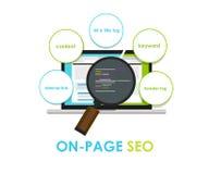 Op de op-pagina van de de zoekmachineoptimalisering van paginaseo Stock Afbeeldingen